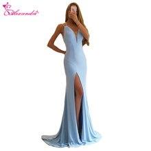 Alexzendra Light Blue V Neck Long Sexy Prom Dresses 2018 Evening Dress  Party Dresses Customize d257e1d0da4b