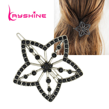 Kayshine Vintage Hair Jewelry Antique Silver Color with Black Beads Flower Hairgrips For Women Hairwear Fashion Accessories