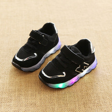 Buy 2018 European M fashion cute design girls boys sneakers high LED lighted children shoes Lovely baby kids glowing shoes for $9.99 in AliExpress store