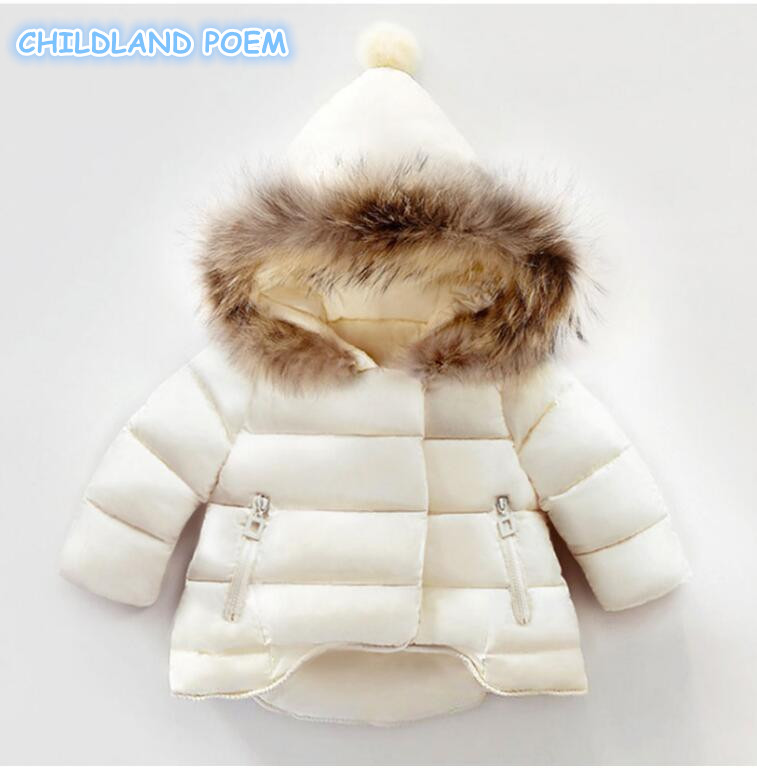 Winter Baby Girl Coat Thick Warm Cotton Real Fur Newborn Baby Boys Girls Jacket Infant Toddler Hooded Outerwear Clothing 1-4Y<br>