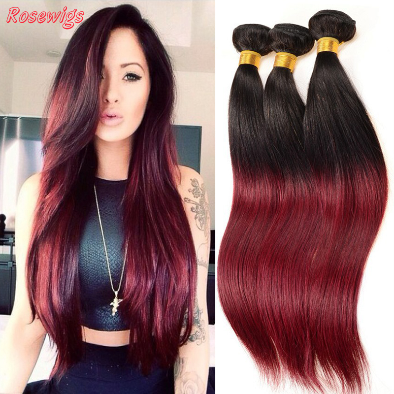 Top Quality Burgundy Ombre Malaysian Hair Weave Bundles 3Pcs Dark Red Ombre Hair 2Tone 1B/Burgundy Ombre Virgin Malaysian Hair<br><br>Aliexpress