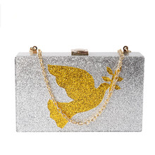 2017 NEW Women Evening Bag Silver Sequins Acrylic Clutches Shoulder Handbags Crossbody Bags Hardcase Ladies small Box Clutch Bag