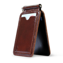 Men Purse Money Clip with Metal Clamp Genuine Leather Wallet 2 Folded Open Clamp for Money Rouble Note Wallet Male(China)