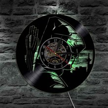 1Piece The Green Arrow Movie Theme Decorative Wall Light Unique Gift Idea For Friends Vinyl Record Wall Clock With Black Lights