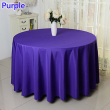 Purple colour wedding table cover table cloth polyester table linen hotel banquet round tables decoration wholesale
