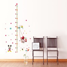 & 3D catroon Mickey Minnie Mouse measure height sticker wall stickers for kids rooms growth chart ruler Home Decoration poster