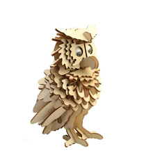 DIY Owl Model 3D Puzzles Wooden Puzzles DIY Toy Woodcraft Handmade Toy Learning Educationa Toys For Children Kids Adult(China)