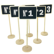 5 Pcs/lot Vintage Mini Wood Chalkboard Blackboard Wooden Place Card Holder Table Number for Wedding Event Party Valentine Day(China)