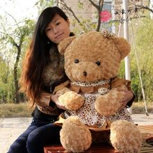 big lovely brown teddy bear toy cute plush flower skirt teddy bear doll gift about 100cm