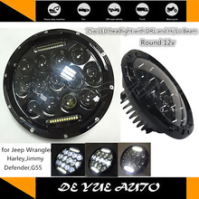 "Good News! No shipping charge hot selling 7"" 75w LED round headlight for Jeep 7 inch led head lamps waterproof best price"