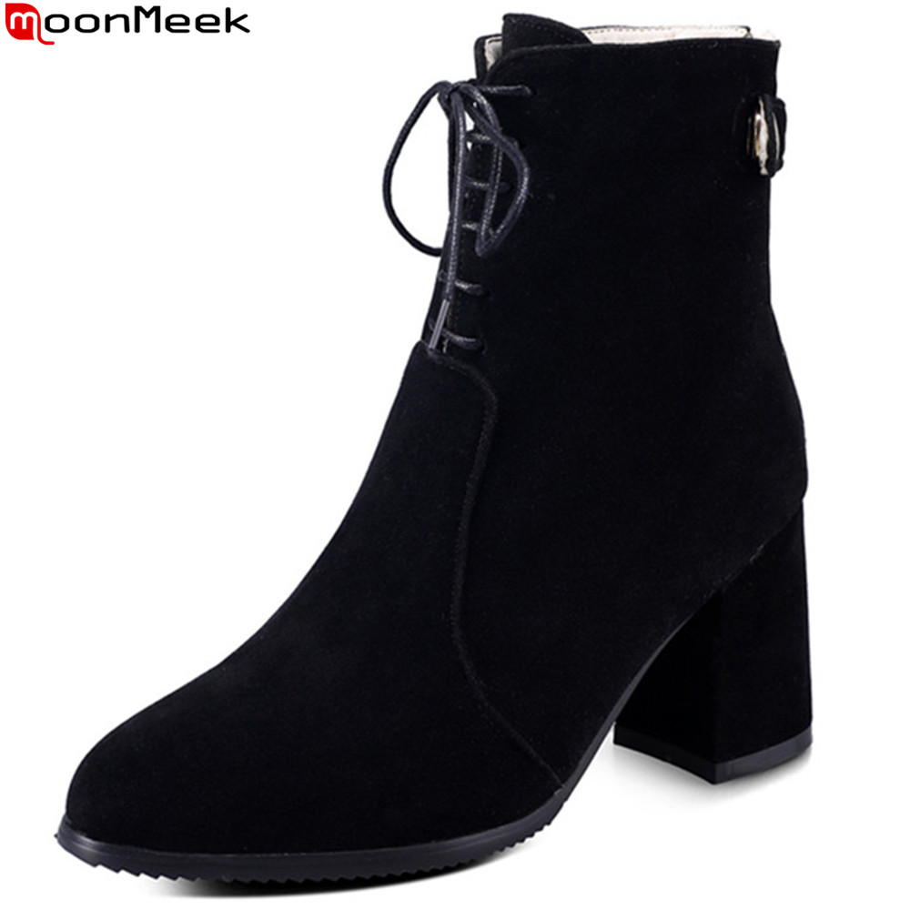 MoonMeek fashion women black gray Khaki autumn winter boots zipper flock cross tied ladies boots square heel ankle boots<br>