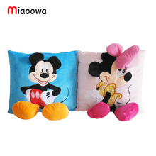 3D Mickey Mouse and Minnie Mouse Plush Pillow Toys Kawaii Mickey and Minnie Plush Doll Toys Children Kids Toys Christmas Gift