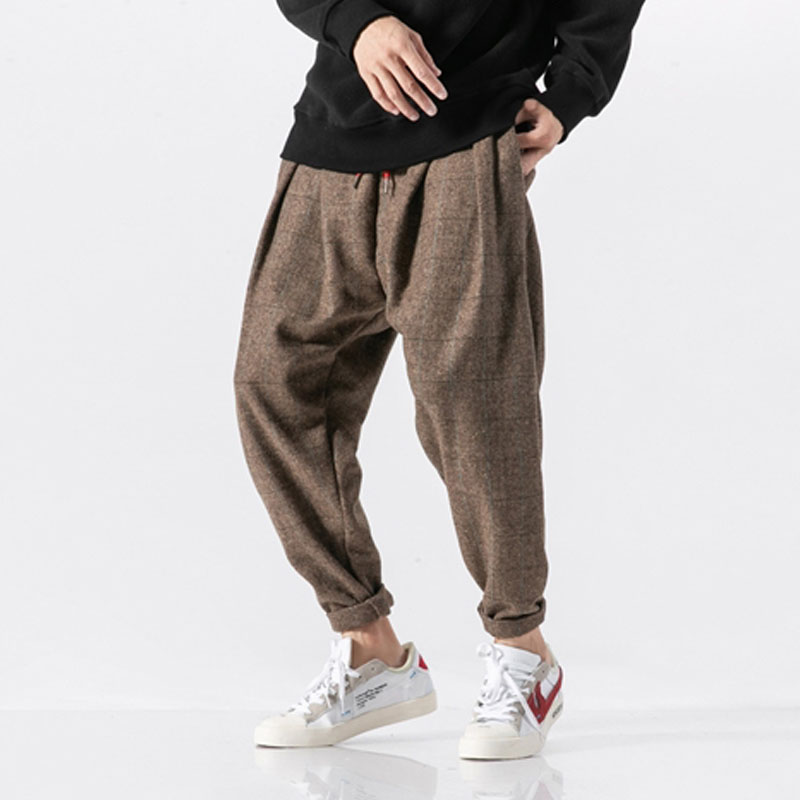 Men Winter Thick Warm Woolen Casual Plaid Pant Male Loose Fashion Harem Trousers Japan Streetwear Hip Hop Pant Jogger Sweatpants