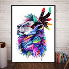 Rainbow Indian Lions Colorful Animals Canvas Painting Art Wall Pictures for Living Room Abstract Christmas Decorations for Home(China)