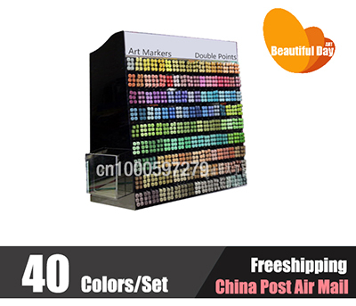 New Arrival!! Alcohol based third generation alcohol based art markers 40 colors set with free bag,freeshipping!!<br>