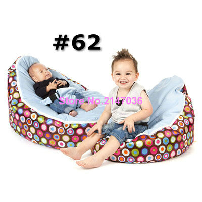 Discojelly balls with blue seat baby bean bag chair, 2 upper cover tops kids beanbag sleeping cushion, portable seat<br>