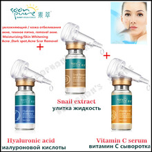 Korean Snail extract white Serum vitamin C skin care Face Cream Rejuvenation beauty Hyaluronic acid ampoules anti acne makeup(China)