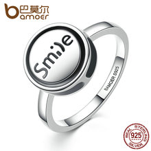 "BAMOER Fashion Jewelry 925 Sterling Silver DIY Finger Ring ""Smile"" Round Shape Ring Women Fashion Jewelry SCR012(China)"