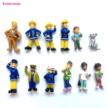 12Pcs/Set anime Fireman Sam action figure toys 3-6cm Cute Cartoon PVC Dolls For Kids Christmas Gift