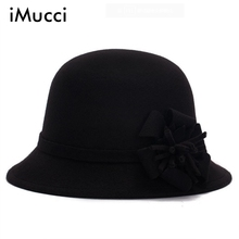 iMucci Fedora Caps Women Winter Autumn Spring Imitation Woolen Dome Hat Nobility Hats Noble Clothing Accessories(China)