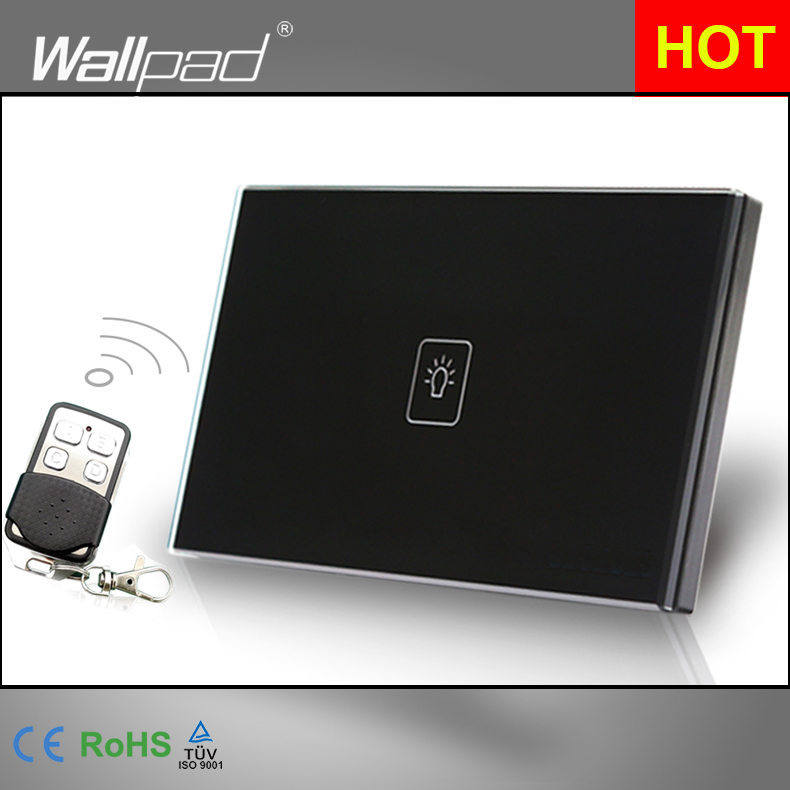 1 Gang 1 Way Remote Switch 118*72mm AU USA Standard Wallpad Black Crystal Glass Touch Remote Control Switch, Free Shipping<br><br>Aliexpress