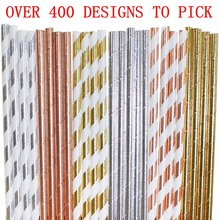 Free DHL Fastest Shipping 1000 pcs Pick Colors Paper Straws Bulk,Rose Gold Silver Foil Striped Plain Solid,Wedding Holiday Party
