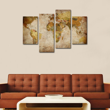 4 Pieces Abstract Map Paintings Wall Art Retro Antiquated World Map Pictures Print on Canvas for Home Decor with Wooden Framed(China)