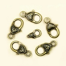 Anqitue Bronze Plated Heart Shaped Lobster Clasps Bronze tone Fit Link Chain Bracelet DIY Jewelry Findings Accessories