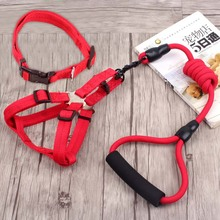 Adjustable Nylon Chihuahua harnais chien Hond Dog Pets Lead harness leash small large Huskie dog collars harness sets long leash(China)