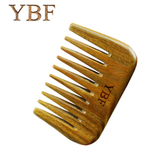 YBF Pure Handmade Wide Wood Comb Designer Professional Health Care Massage Whole Wooden Small Green Sandalwood Hair Combs Gift