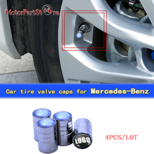4pcs/lot Car Emblem Auto Tire Valve Caps for Benz Safety Wheel Tyre Air Valve Stem Cover for Mercedes $(China)