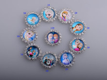 Metal Rhinestone Embellishment Elsa And Anna Flat Back 100pcs/lot 20MM Scrap Booking Girl Hair Bow Center Kids Crafts