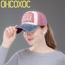 OHCOXOC new fashion women men baseball cap Washable denim style caps embroidery letter sports hats unisex cotton active snapback(China)