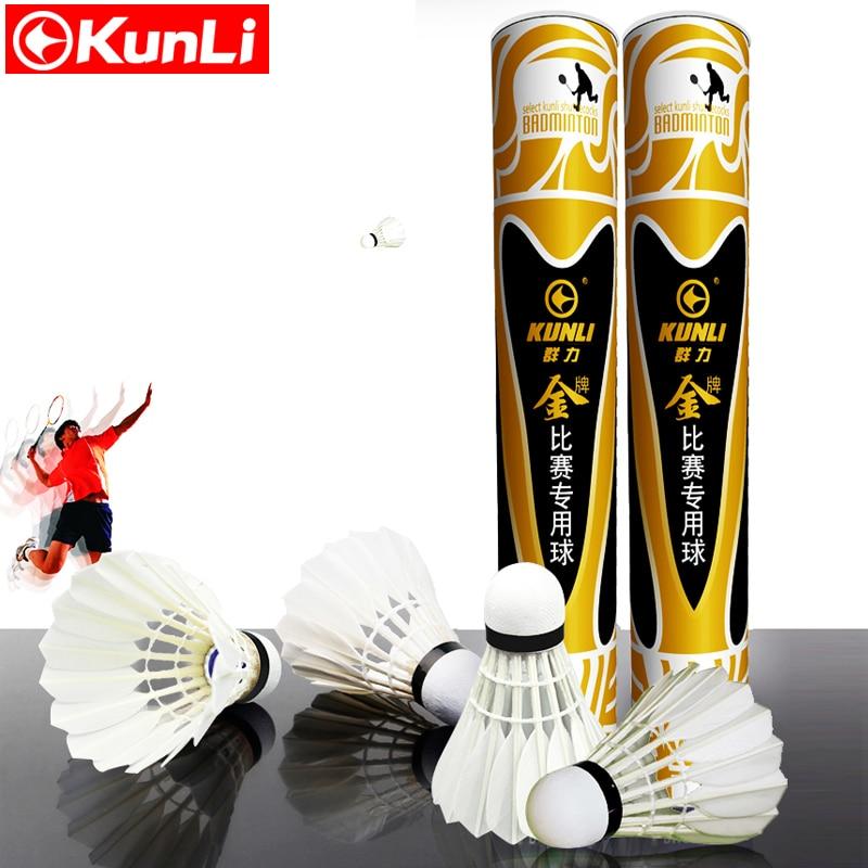 12pcs/tube Original KUNLI-GOLD Shuttlecock Badminton top grade goose feather shuttlecock Sandwichcock for Tournament <br>