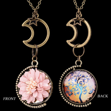 Moon&Flower Vintage Bronze Pendant Necklace Korean Velvet Daisy Necklace Tree Of Life On The Back 2016 New Fashion For Women