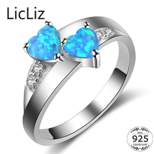LicLiz 925 Sterling Silver Heart Rings For Women Love Opal Promise Ring CZ Pave Eternity Ring Gemstone Wedding Rings Anel LR0373(China)