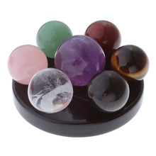 Seven Star Group Natural Amethyst Chakra Crystal Sphere Ball with Black Obsidian Stand(China)
