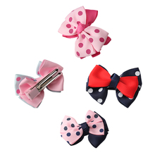 M MISM 4 Patterns Double Layers Hair Accessories Perfect Quality Ribbon Bow Hairclips Kids Girls Hair Care Hairpins Hearwear