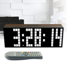 2017 New Remote Retro Wood Led Digital  Wall Clock Large Table Alarm Stopwatch Timer Date Large Digits Show Temperature Series 3
