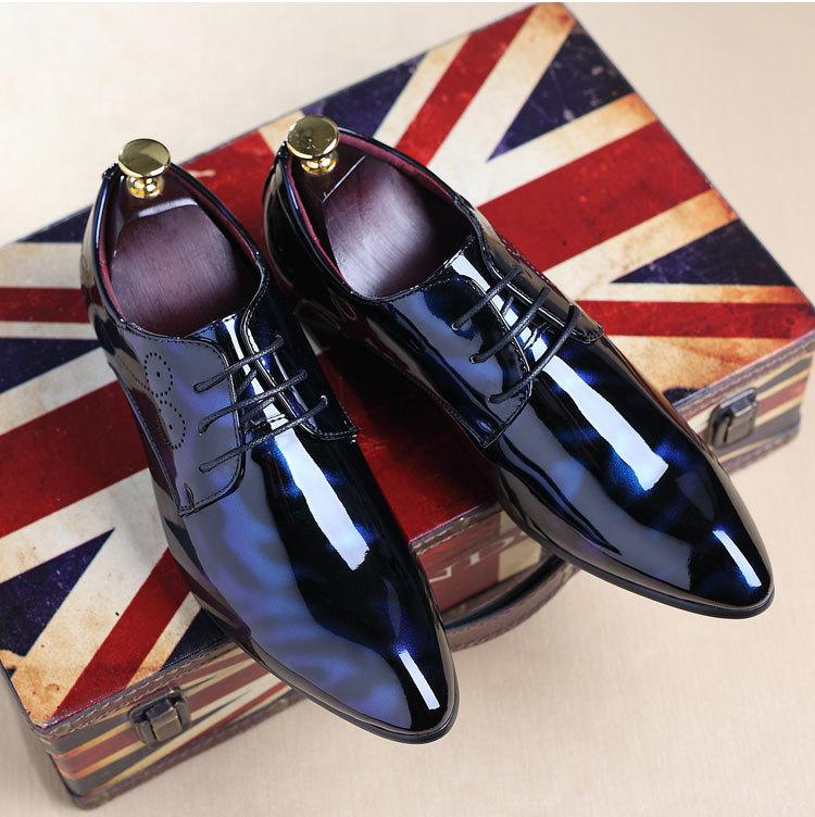 NPEZKGC Big Size 38-48 Men Shoes PU Leather Casual Shoes Fashion Lace Up Oxfrds Shoes Breathable Patent Leather Men Flat Shoes 21