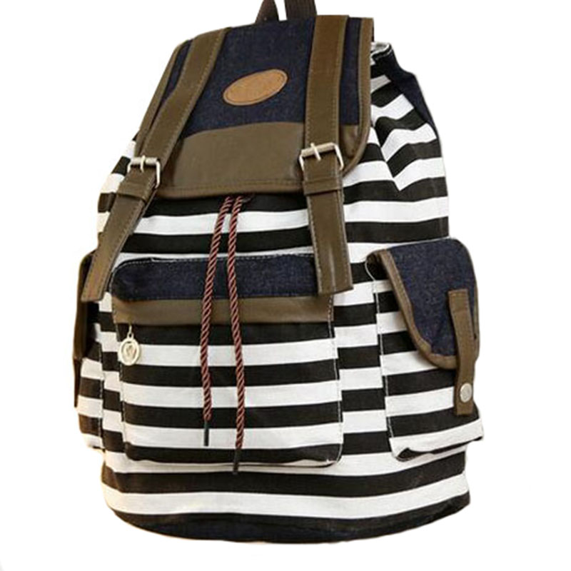 2017 Women Canvas Backpack Fashion Striped Students Cute Casual Bag School For Teenagers Rucksack Top Quality Free Shipping P432<br><br>Aliexpress