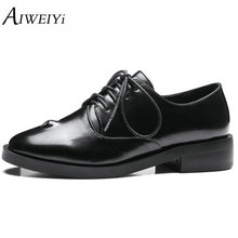 AIWEIYi Women Oxfords Shoes Round toe Square Low Heel Shoes Lace up Black Platform Pumps Shoes for Women Size 34-43