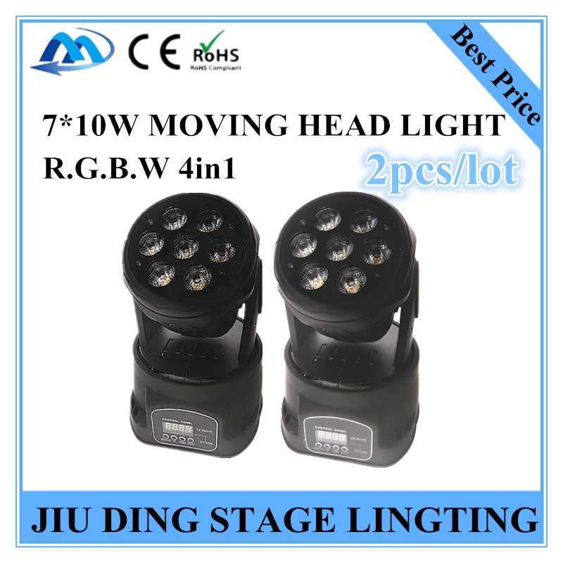 2pcs / 7 * 10W RGBW 4in1 Moving Head light, beam light  DMX controller Professionals stage lighting DJ light<br><br>Aliexpress