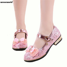 WEONEWORLD Children Princess Glitter Sandals Kids Girls Shoes Square Heels Dress Shoes Party Shoes Pink /Silver/Gold Size 27~37