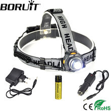 Boruit Aluminum XPE LED Headlamp with IR Sensor Control Headlight for Fishing Head Lamp Torch Lantern Light by 18650 Battery