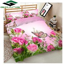 GOANG luxury bedding set bed sheet duvet cover pillow case 3d digital printing rose flower with butterfly home textiles Decor(China)