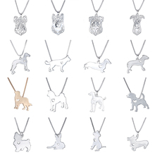 Statement Choker Necklace Metal Alloy Pet Dog Family Stroll Design Chain Collar Bulldog Pendant Necklace Fashion Jewelry Women(China)