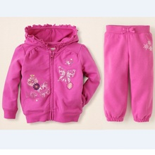 2017 Girls Tracksuits 2-6years Pink Baby Girls Clothes Hoodies Jackets Pants Children Sport Suit Outfits Hooded Coat+Trouser Top