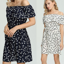 Women Plus Size Strapless Slash Neck Printing Casual A-Line Mini Dress Women Ladies Classic White/Black Casual Dress vestidos(China)