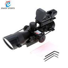 2.5-10X40 Illuminated Tactical Riflescopes with Red Laser + Detachable Reflex Lens Red Green Dot Sight Scope